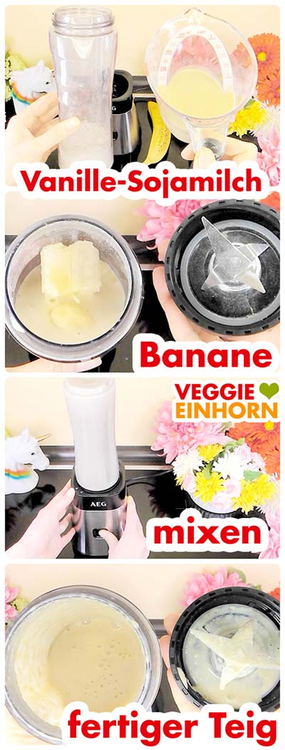 Banane, Vanillesojamilch und gemahlene Haferflocken im Standmixer
