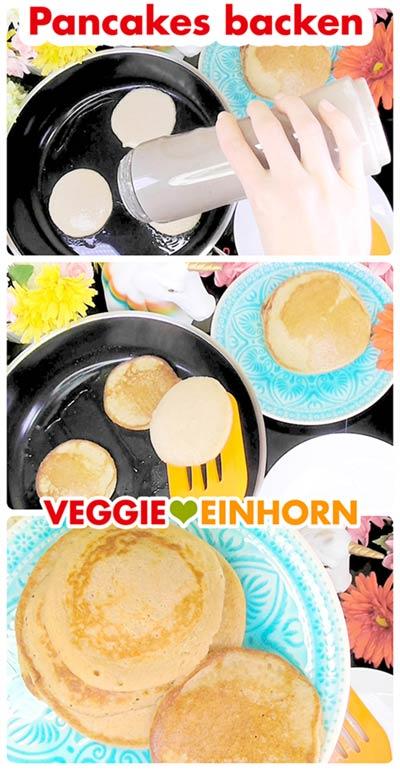 Vegane Haferflocken-Bananen-Pancakes in der Pfanne backen