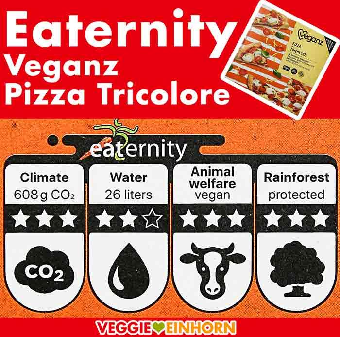 Veganz Pizza Spinaci CO2 Bilanz und Wasserverbrauch
