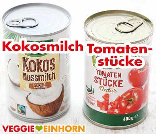 Eine Dose Kokosmilch und eine Dose Tomatenstücke