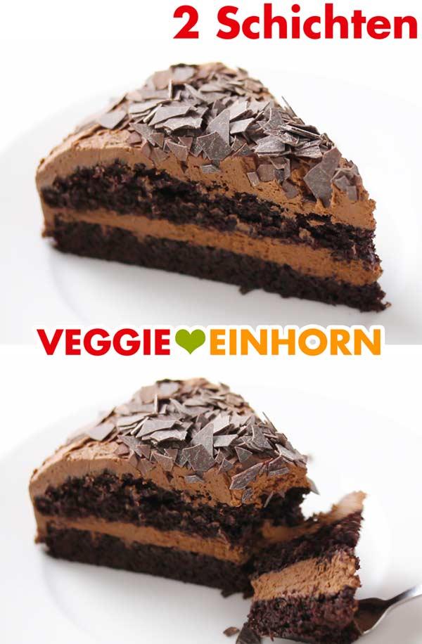 Einfache vegane Schokotorte mit zwei Schichten