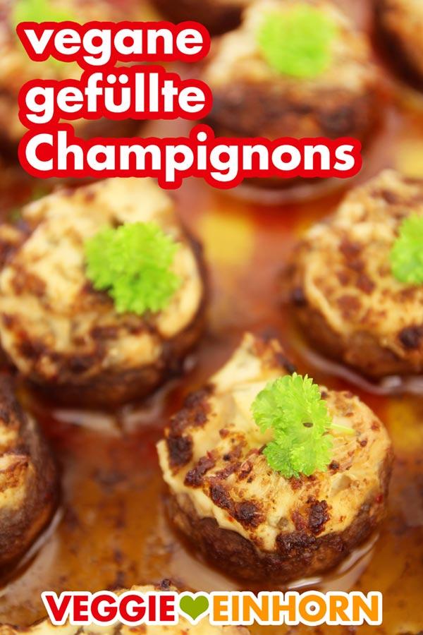 VEGANE GEFÜLLTE CHAMPIGNONS | Einfaches veganes Rezept | Schnelle leckere Pilze mit veganer Frischkäse Füllung | Rezept mit VIDEO
