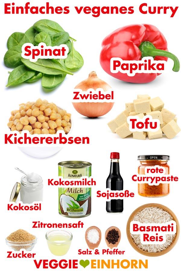 Einfaches veganes Curry | Schnelles Curry Rezept mit Kichererbsen und Spinat zum Mittag oder Abendessen | vegane Rezepte deutsch | gesund und schnell | vegan und glutenfrei | lecker vegan kochen | Einfache vegane Rezepte mit VIDEO #VeggieEinhorn