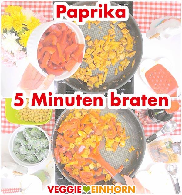 Schnelles veganes Curry | Paprika anbraten | Gesund vegan kochen | vegane Rezepte deutsch #VeggieEinhorn