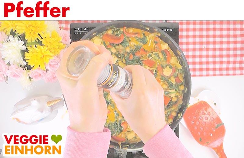Einfaches veganes Curry mit Kokosmilch Kichererbsen Reis | Pfeffer