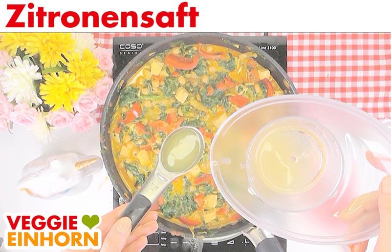 Einfaches veganes Curry mit Kokosmilch Kichererbsen Reis | Zitronensaft
