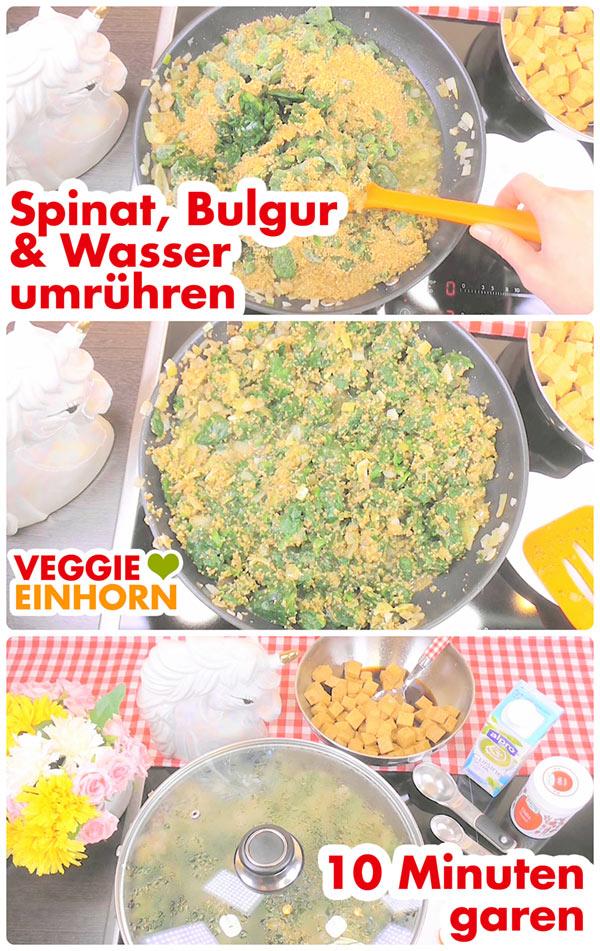 Vegan kochen: Einfaches veganes Rezept   BULGUR-PFANNE mit SPINAT und TOFU   Schnell, einfach und lecker   Veganes Rezept mit Schritt-für-Schritt Foto Anleitung und VIDEO. #VeggieEinhorn
