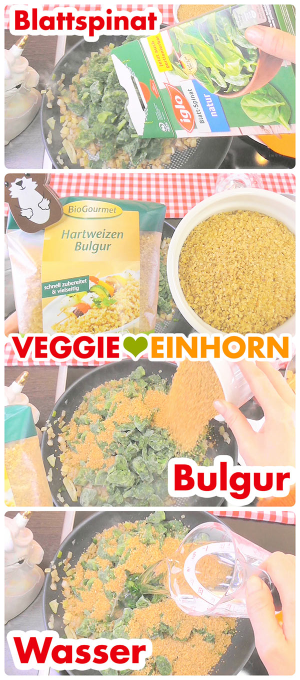 Spinat, Bulgur und Wasser zufügen