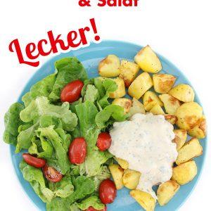 Einfach vegan kochen | Ofenkartoffeln mit veganem Kräuterquark und Salat | Veganes Kartoffel Rezept | Rezept mit VIDEO