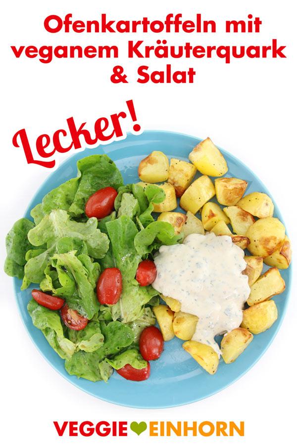 Einfach vegan kochen | Leckere Ofenkartoffeln mit veganem Kräuterquark und Salat | Veganes Mittag oder Abendessen | Vegane Rezepte deutsch mit VIDEO #VeggieEinhorn