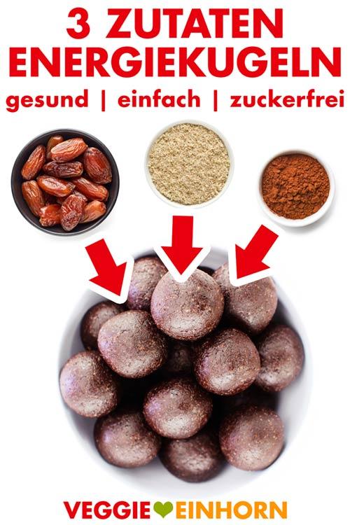 Einfache ENERGIEKUGELN aus nur 3 Zutaten: Datteln, Mandeln und Kakao. Gesunde Schoko Energy Balls | Zuckerfrei glutenfrei vegan | Einfaches Rezept für Energiebällchen ohne Zucker und ohne Backen. Gesund naschen vegan | Einfache süße vegane Snacks zum Mitnehmen für zwischendurch | Gesunde Süßigkeiten für Kinder selber machen | EINFACHE VEGANE REZEPTE auf deutsch MIT VIDEO #VeggieEinhorn