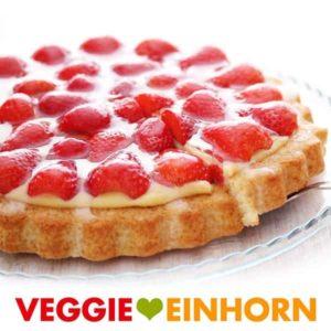 Erdbeerkuchen mit Vanillepudding vegan