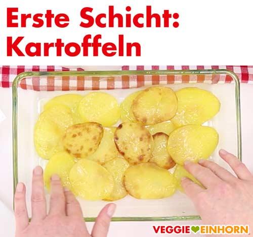 Kartoffelscheiben in Auflaufform