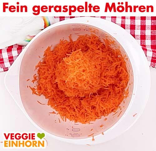 Fein geriebene Karotten Raspel