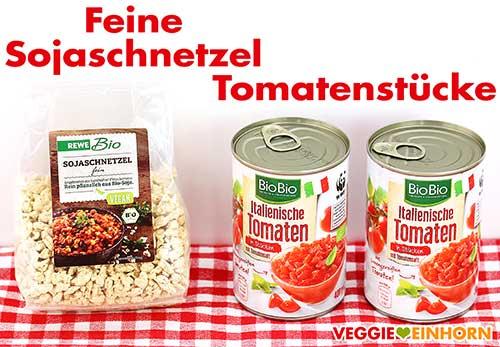 Feine Sojaschnetzel und Tomatenstücke in der Dose