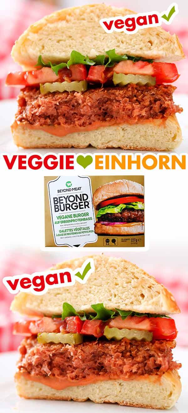Ein durchgeschnittener Hamburger mit einem Beyond Burger Patty