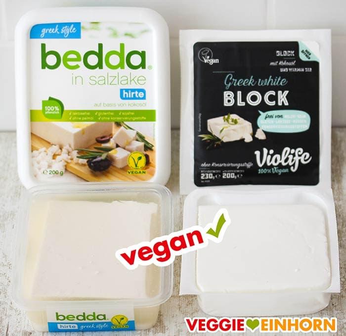 Die veganen Feta Packungen sind geöffnet