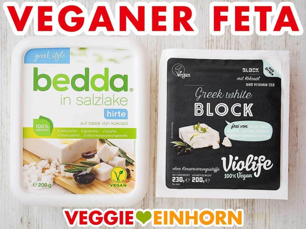 Zwei Packungen veganer Feta auf einem Tisch