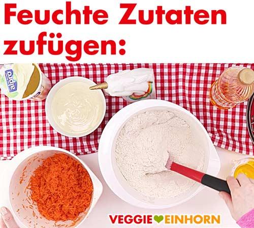 Feuchte Zutaten für veganen Karottenkuchen