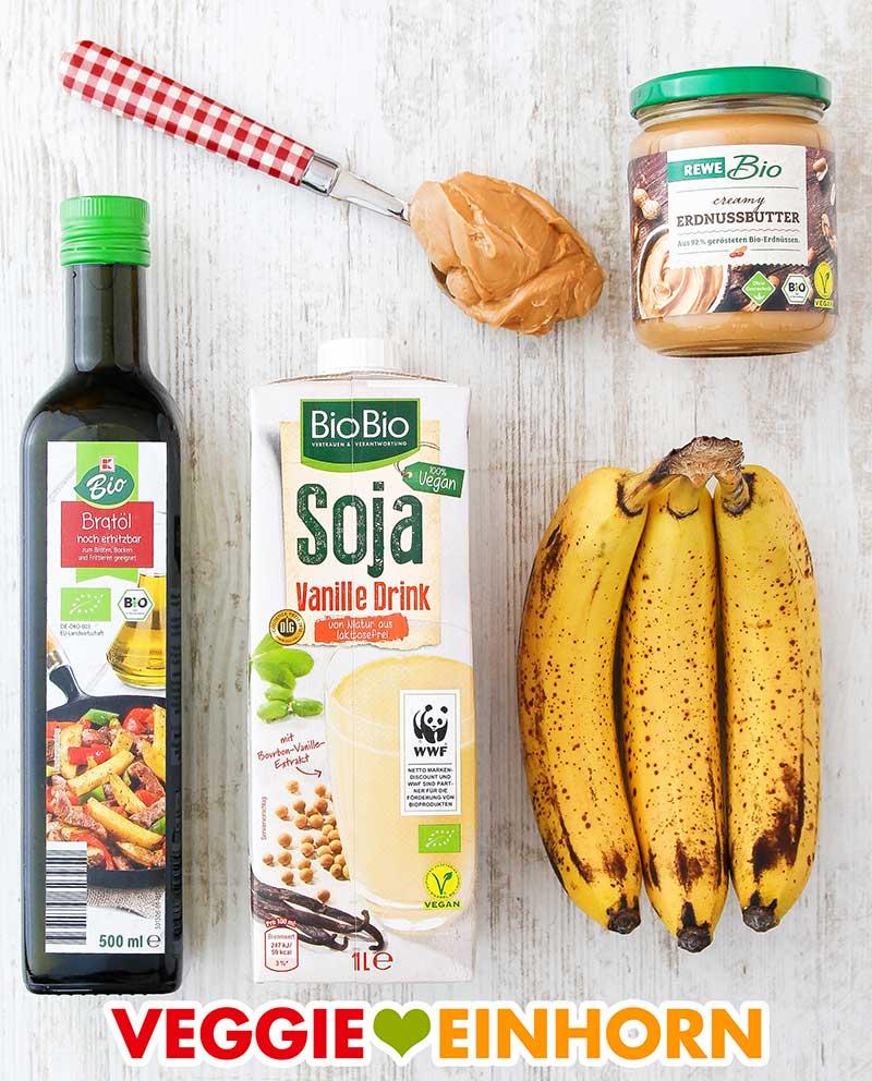 Erdnussbutter, neutrales Öl, Vanille Sojamilch, reife Bananen