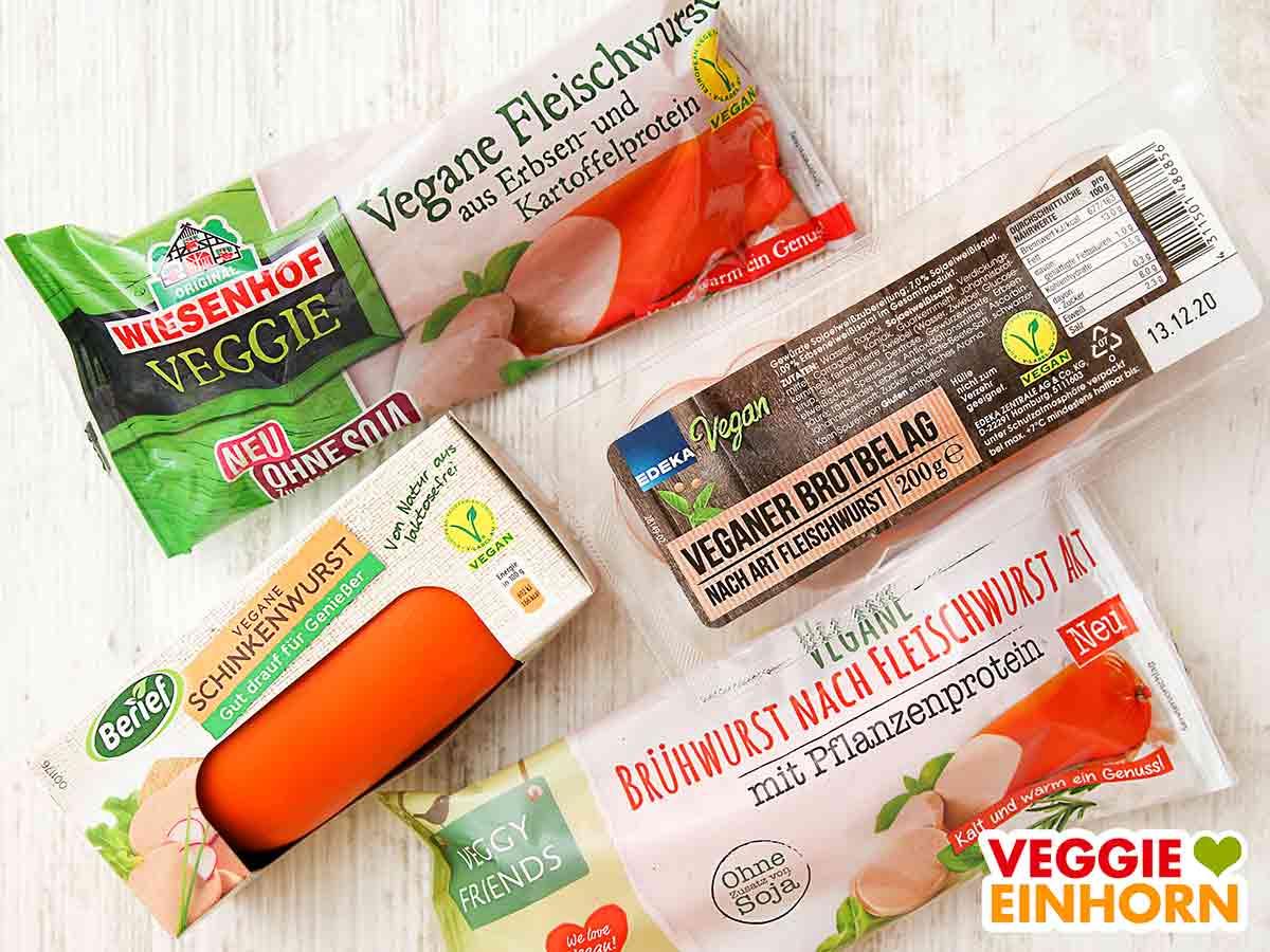 Verschiedene Marken von veganer Fleischwurst