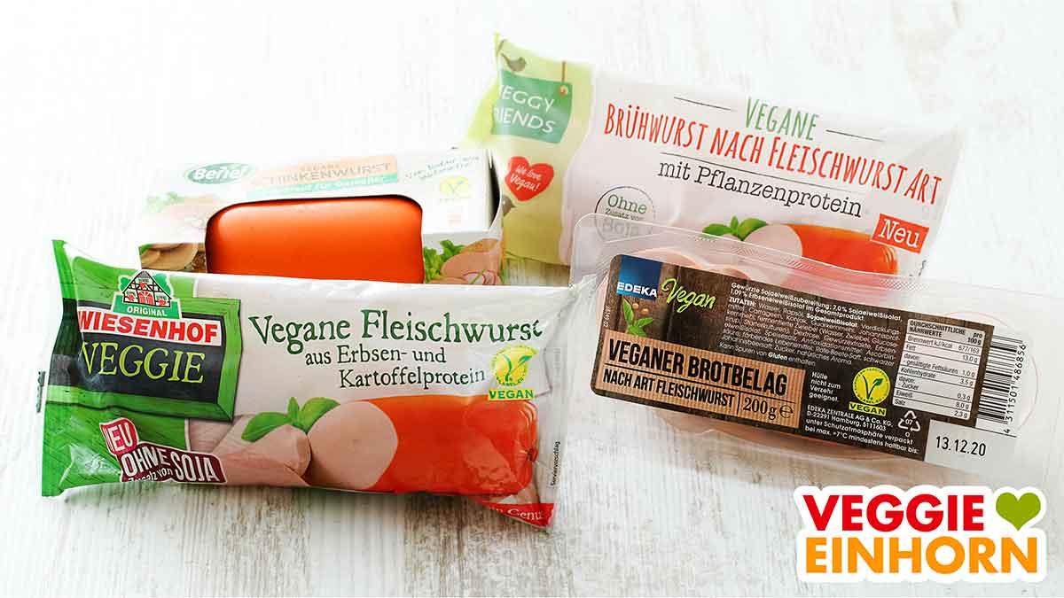 Packungen mit vegetarischer Fleischwurst