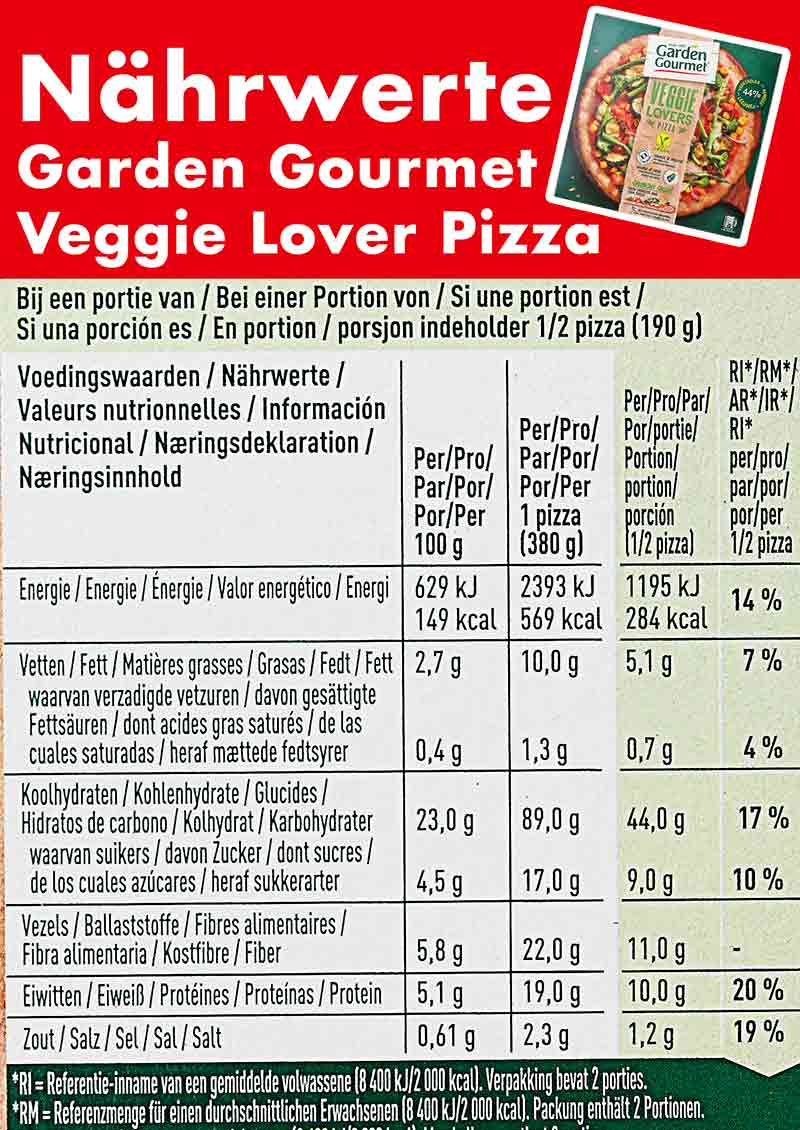 Kalorien Garden Gourmet Veggie Lover Pizza