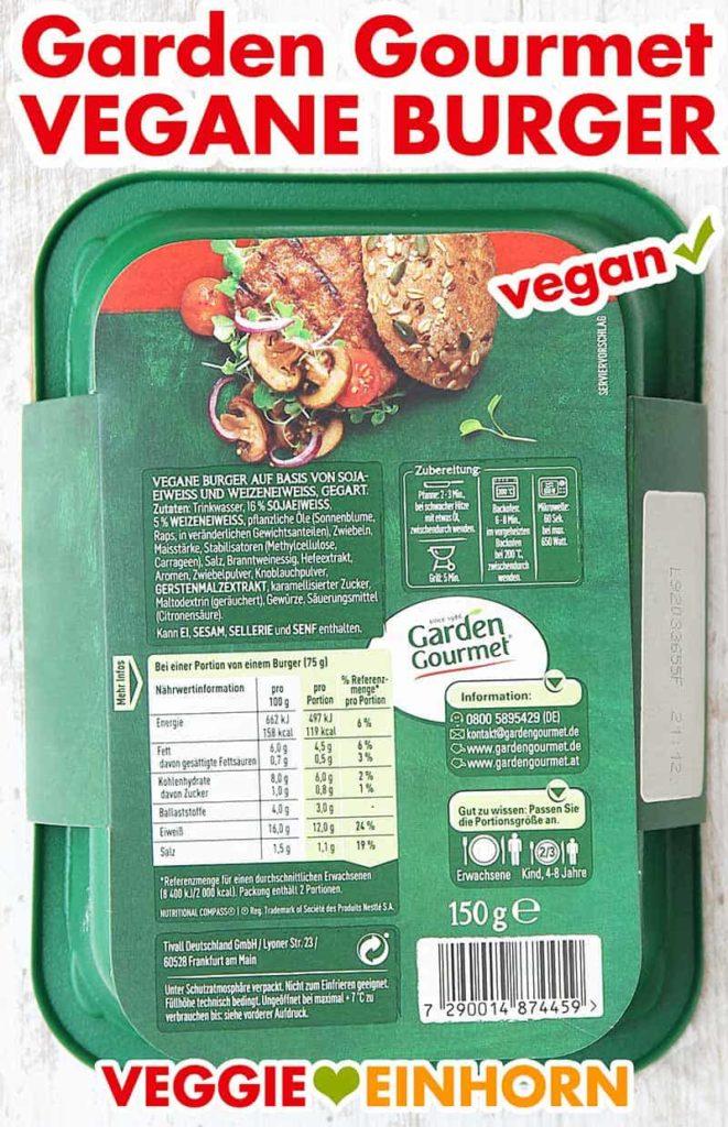 Rückseite der Verpackung (Garden Gourmet Vegane Burger)