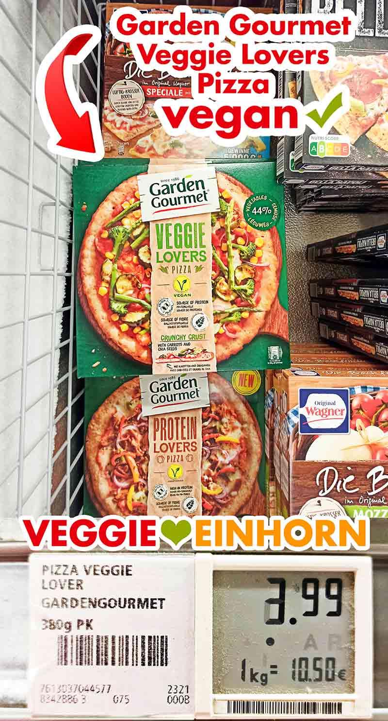 Vegane Tiefkühlpizza von Garden Gourmet in der Kühltruhe im Supermarkt
