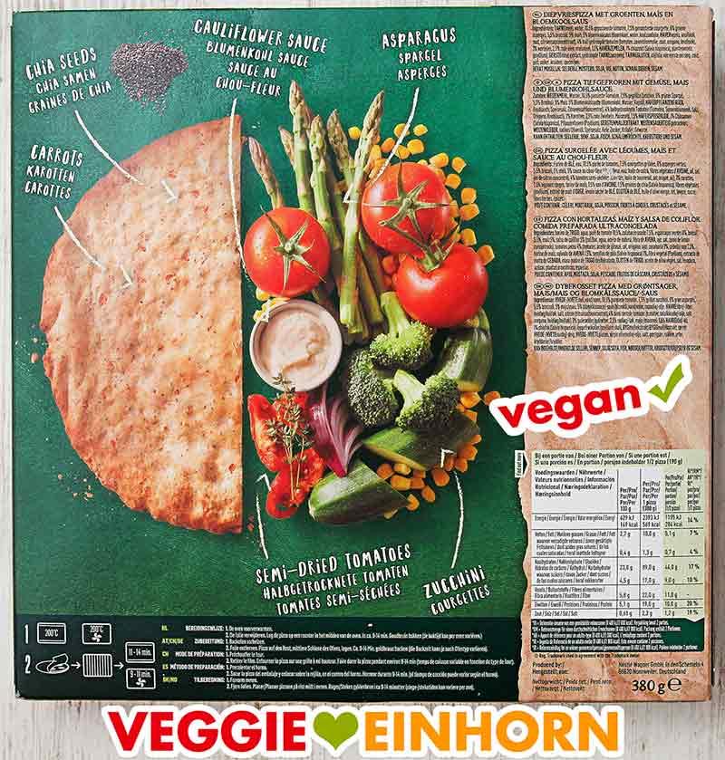 Rückseite der Packung Garden Gourmet Veggie Lovers Pizza