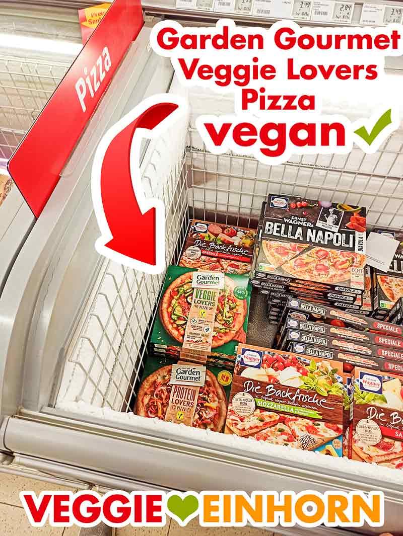 Vegane Tiefkühlpizza von Garden Gourmet in der Tiefkühltruhe im Supermarkt