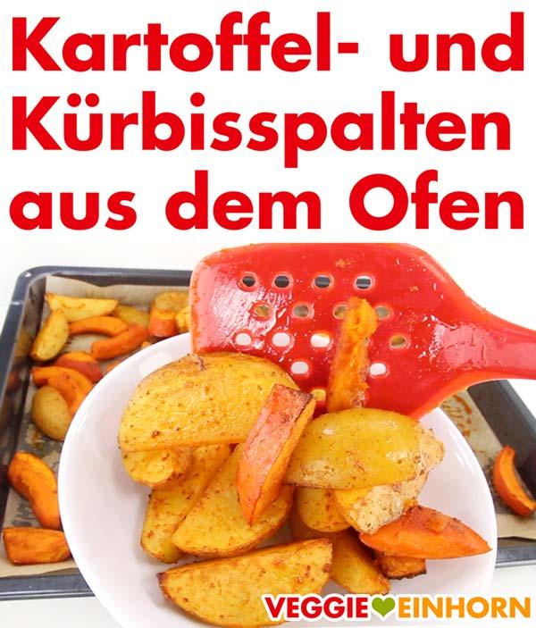 Gebackene Kartoffel und Kürbis Spalten aus dem Ofen