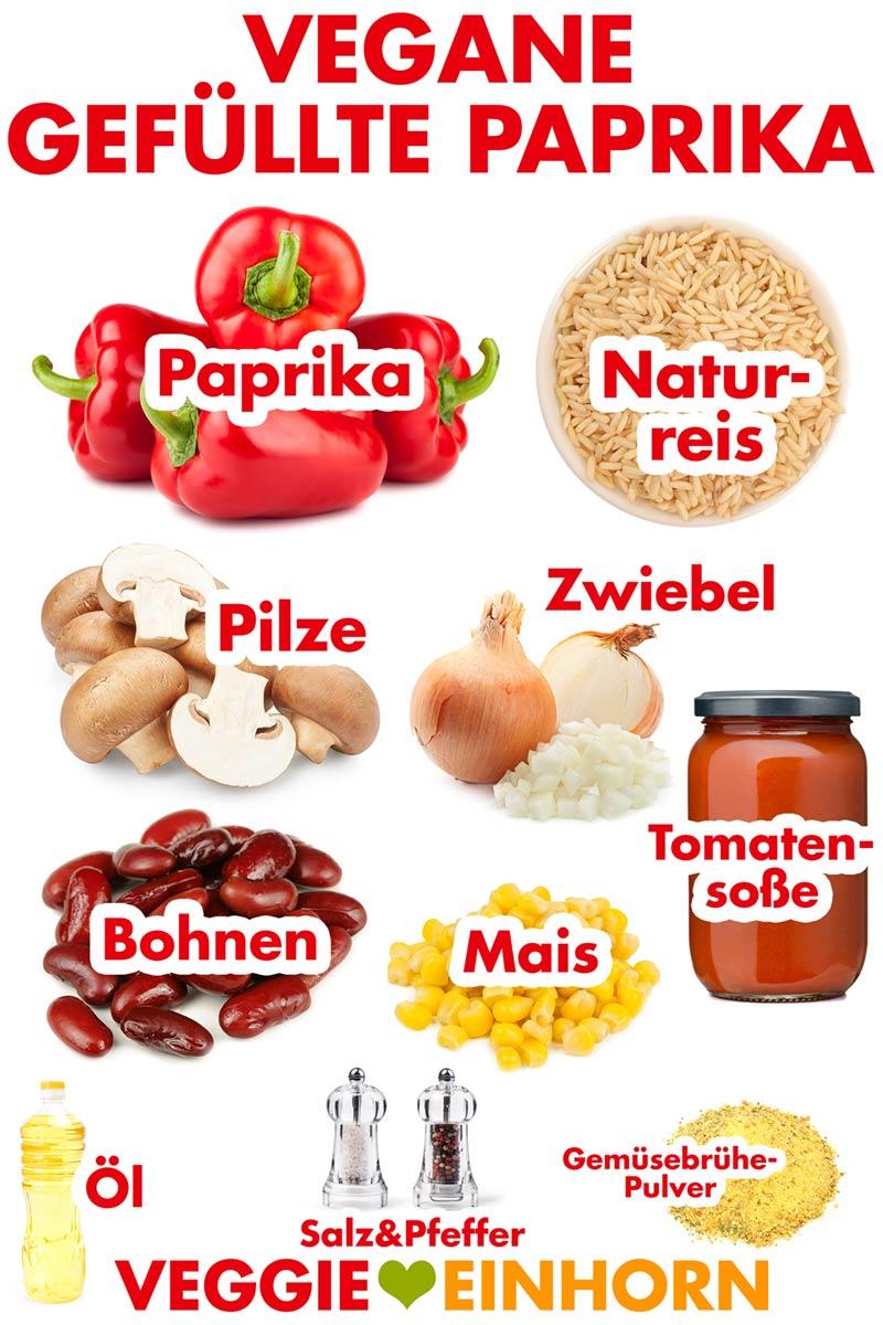 Zutaten für die veganen gefüllten Paprika