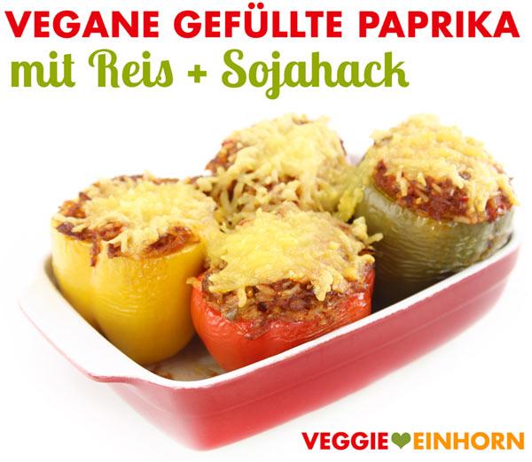 Vegane gefüllte Paprika mit Sojahackfleisch überbacken mit Käse