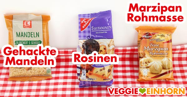 Gehackte Mandeln Rosinen Marzipan-Rohmasse