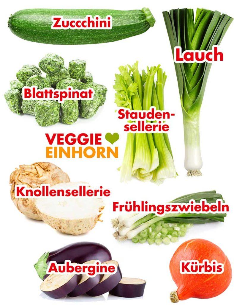 Zucchini, Blattspinat, Staudensellerie, Knollensellerie, Lauch, Frühlingszwiebeln, Kürbis, Aubergine