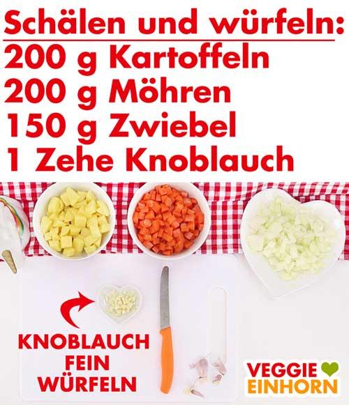 Gemüse vorbereiten für Rote Linsensuppe
