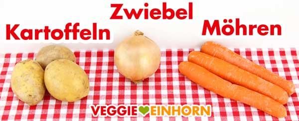 Kartoffeln, Zwiebeln und Möhren für Mercimek Suppe