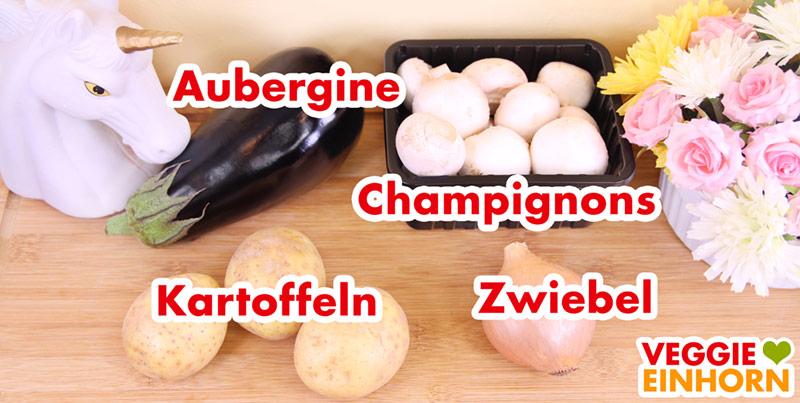 Kartoffeln, Champignons, Aubergine, Zwiebel