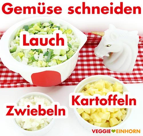Gemüse schneiden Lauch Zwiebeln Kartoffeln