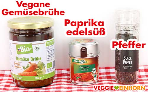 Veganes Gemüsebrühe Pulver, Paprika edelsüß, Pfeffer
