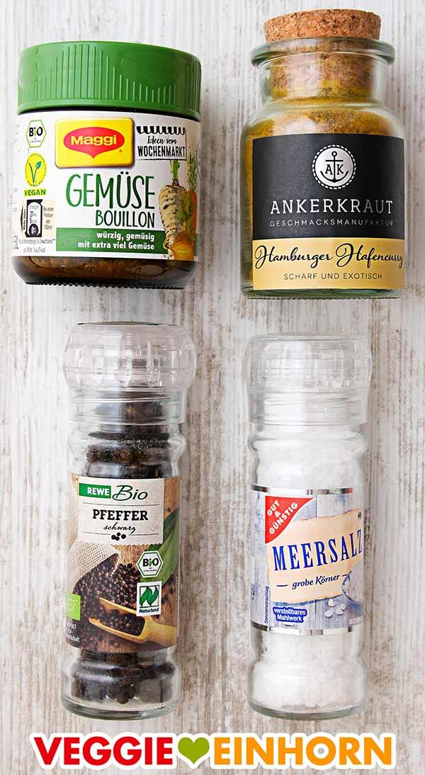 Gemüsebrühe Pulver, Ankerkraut Currypulver, schwarzer Pfeffer, Meersalz