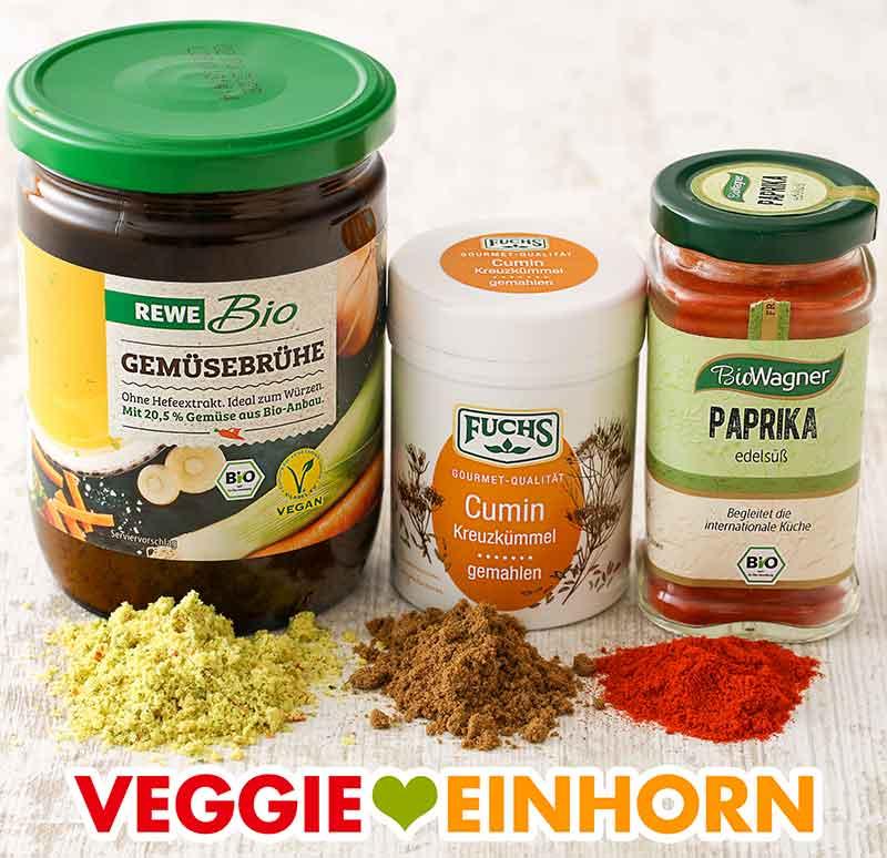 Gemüsebrühe Pulver, Kumin und Paprika edelsüß