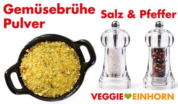 Gemüsebrühe Pulver, Salz und Pfeffer