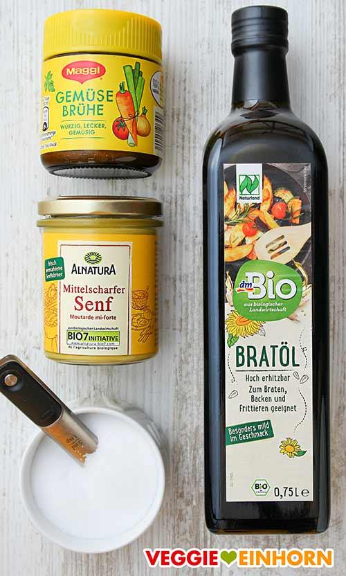 Gemüsebrühe Pulver,  veganer Senf, Salz, Öl zum Braten