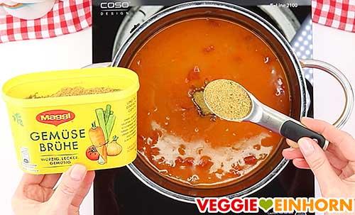 Gemüsebrühe Pulver zufügen