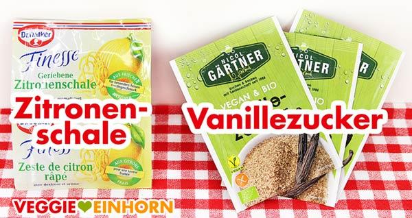 Geriebene Zitronenschale und Vanillezucker für vegane Plätzchen