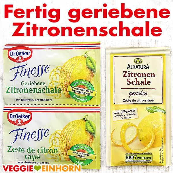 Geriebene Zitronenschale Dr. Oetker Finesse und von Alnatura