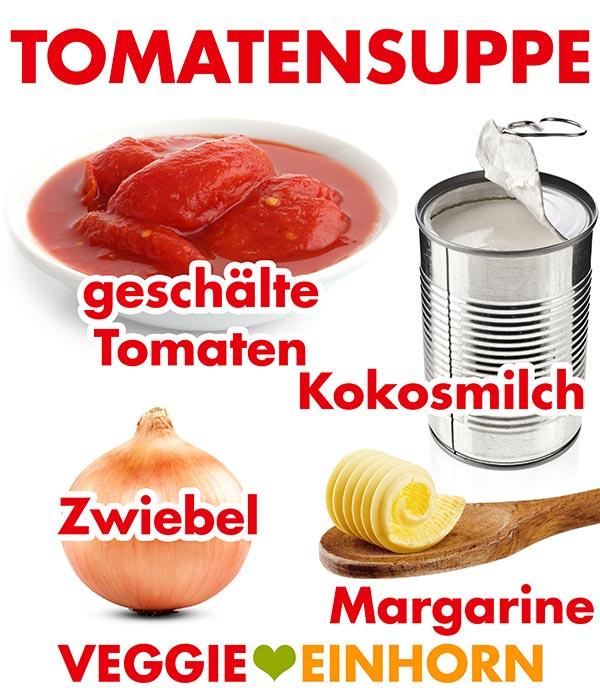 Geschälte Tomaten, Kokosmilch aus der Dose, Zwiebel und Margarine