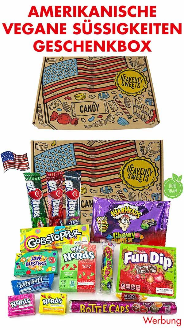 Geschenkbox mit amerikanischen veganen Süßigkeiten